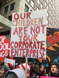 A demonstration in Chicago about the privatisation of schools and the role of Teach for America